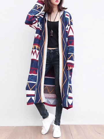 Printed Long Sleeves Knitted Cardigans-Newchic-