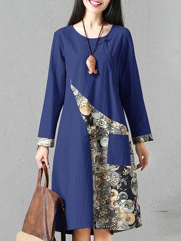 Printed Single Pocket Women Dresses-Newchic-