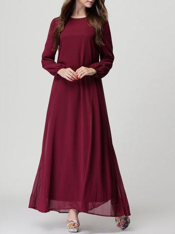 Pure Color Chiffon Long Maix Dresses-Newchic-