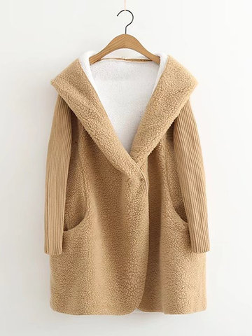 Pure Color Hooded Women Plush Coats-Newchic-
