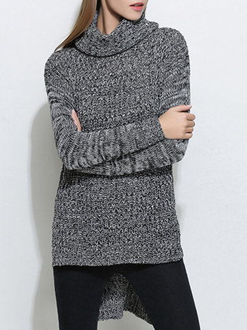 Pure Color Irregular Turtleneck Women Sweaters-Newchic-
