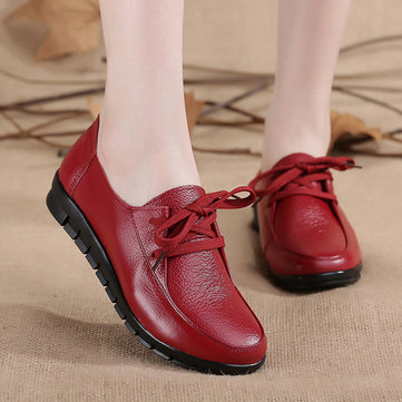 Pure Color Leather Lace Up Flat Soft Casual Shoes For Women-Newchic-Multicolor