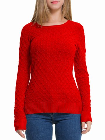 Pure Color Long Sleeve Sweaters-Newchic-
