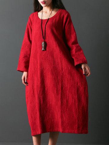 Pure Color Mid-Long Vintage Dresses-Newchic-