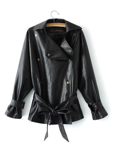 Pure Color PU Leather Women Jackets-Newchic-