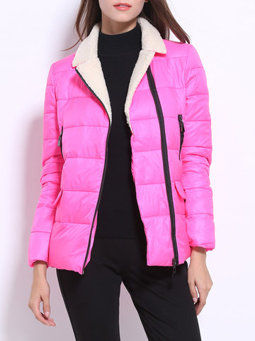 Pure Color Patchwork Lapel Women Down Coats-Newchic-
