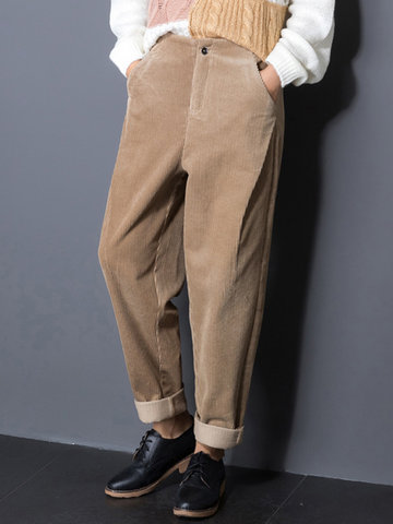 Pure Color Pockets Pants For Women-Newchic-
