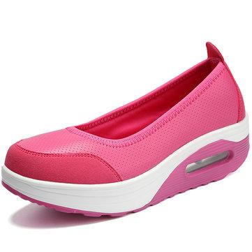 Pure Color Rocker Sole Slip On Casual Shoes-Newchic-Multicolor