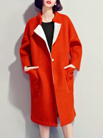 Pure Color Thicken Winter Coats-Newchic-