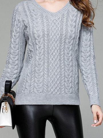 Pure Color V-Neck Sweaters-Newchic-