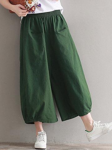 Pure Color Wide Leg Pants-Newchic-