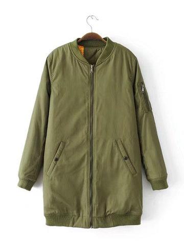 Pure Color Winter Cotton Coats-Newchic-