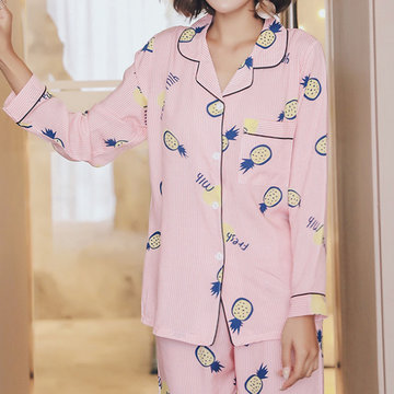 Pure Cotton Silk Breathable Thin Two Piece Sleepwear Suit-Newchic-