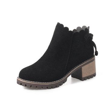 Retro Block Square Heels Boots-Newchic-Multicolor