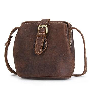 Retro Genuine Leather Bucket Bag Shoulder Bag Crossbody Bag-Newchic-