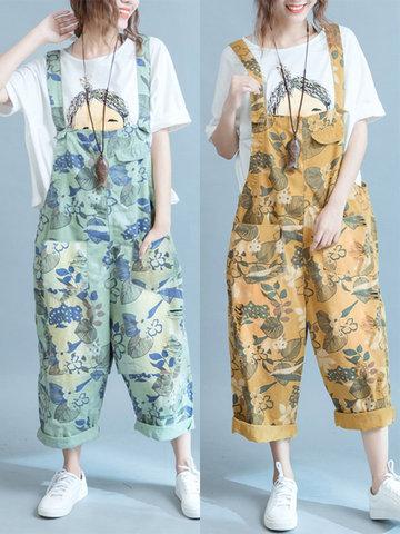 Retro Women Flower Printed Jumpsuits-Newchic-