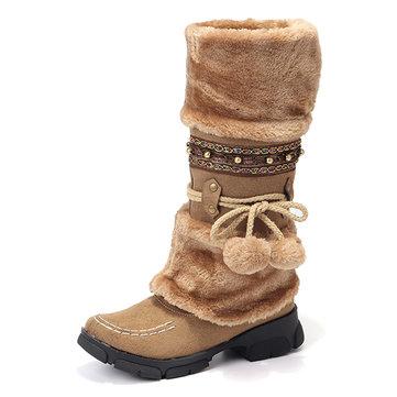 Rhinestone Mid Calf Warm Knight Boots-Newchic-Multicolor