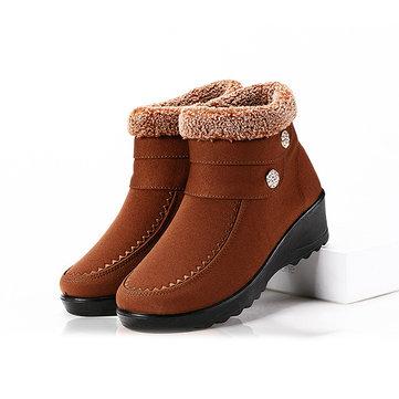 Rhinestone Zipper Warm Winter Casual Boots-Newchic-Multicolor