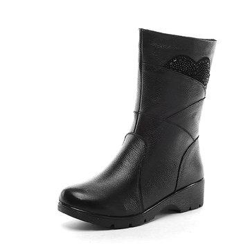 Rhinestones Zipper Fur Lining Warm Boots-Newchic-Black