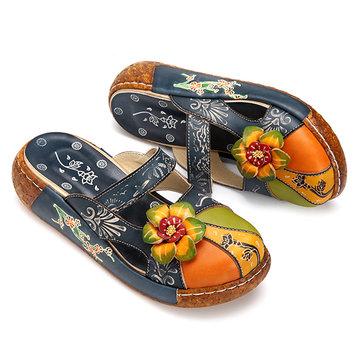 SOCOFY Colotful Flower Sandals-Newchic-Blue