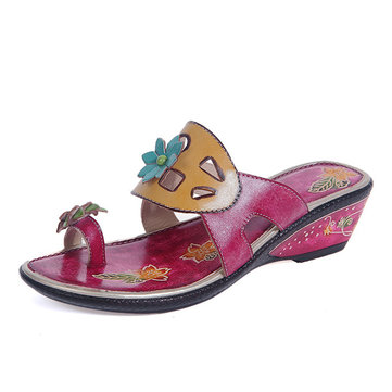SOCOFY Floral Wedge Heel Clip Toe Vintage Leather Slippers-Newchic-Pink