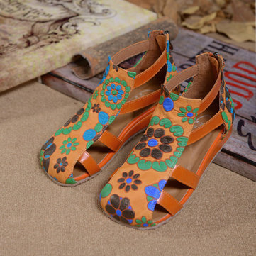SOCOFY Flower Print Leather Hollow Out Strappy Zipper Sandals-Newchic-Orange