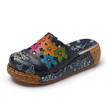 SOCOFY Leather Butterfly Print Silppers-Newchic-Blue
