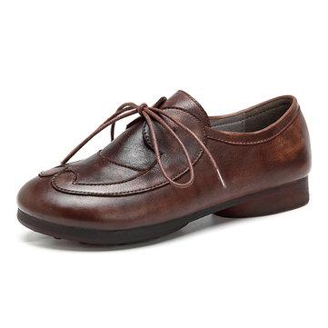 SOCOFY Retro Splicing Flat Shoes-Newchic-Coffee