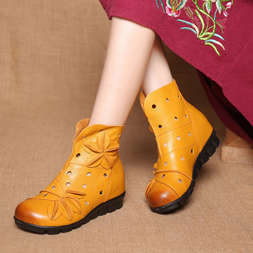 SOCOFY Vintage Flat Boots-Newchic-Multicolor