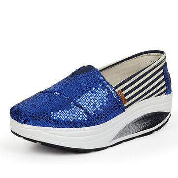 Sequined Stripe Rocker Sole Casual Shoes-Newchic-Multicolor