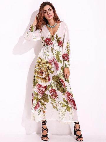 Sexy Deep V Flower Print Long Sleeve Maxi Dress For Women-Newchic-