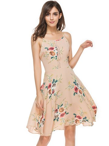 Sexy Floral Print Backless Hollow Patchwork Camisole Women Dress-Newchic-