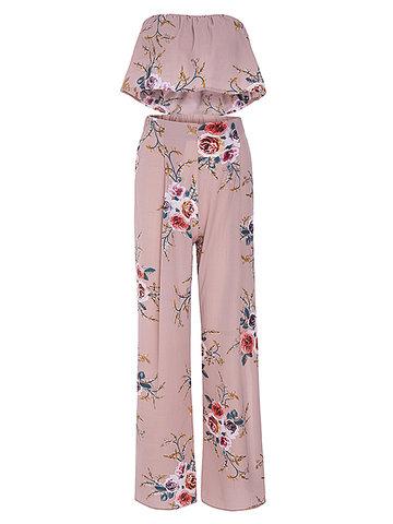 Sexy Floral Print Off-shoulder Wide Leg Slit Suit For Women-Newchic-