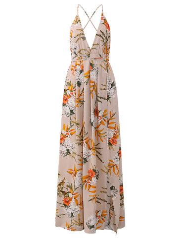Sexy Floral Print Split Backless Halter V-neck Women Maxi Dress-Newchic-
