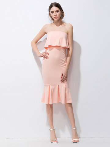 Sexy Flouncing Strapless Fishtail Dress For Women-Newchic-
