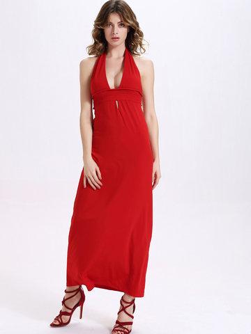 Sexy Knitting Backless Halter Hollow Women Maxi Dress-Newchic-