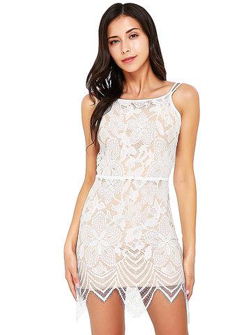 Sexy Lace Backless Tie Back Irregular Halter Cami Mini Dress-Newchic-