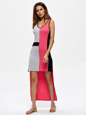 Sexy Patchwork Sleeveless Irregular Hem O Neck Women Dresses-Newchic-
