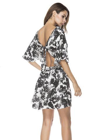 Sexy Print Backless Tie Back Half Sleeve O-neck Women Mini Dresses-Newchic-