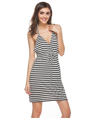 Sexy Stripe V-Neck Strap Backless Beach Mini Dress For Women-Newchic-