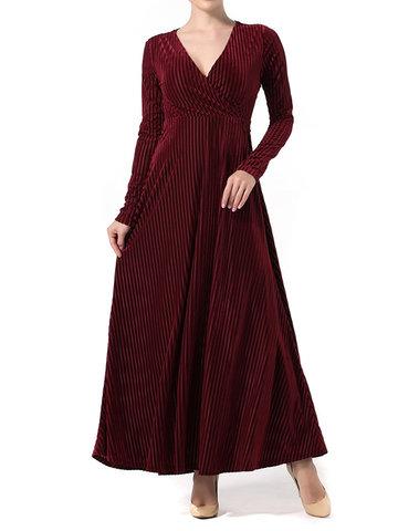 Sexy Striped Pleuche Maxi Dresses-Newchic-