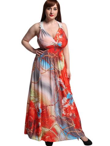 Sexy V-neck Sleeveless Printed Elastic Waist Bohemian Dresses-Newchic-