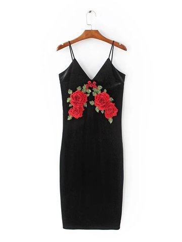 Sexy Velvet Deep V Floral Embroidered Camisole Women Dress-Newchic-
