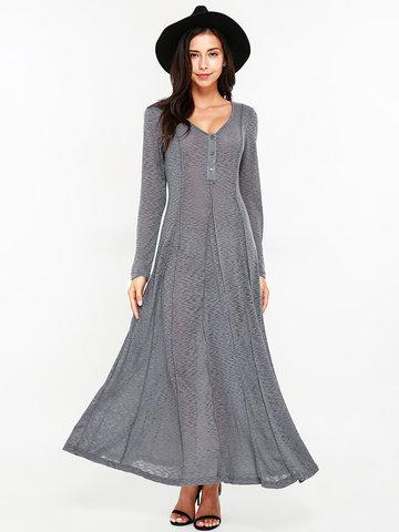 Sexy Women Long Sleeve O-Neck Maxi Dresses-Newchic-