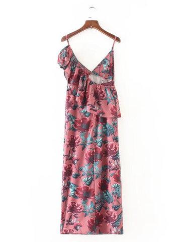 Sexy Women One Shoulder Ruffle Print Dresses-Newchic-