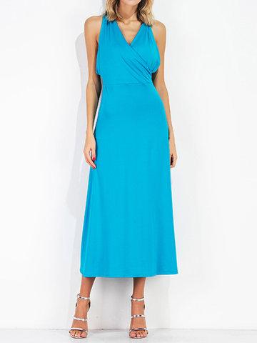 Sexy Women Sleeveless V-Neck High Waist Maxi Dresses-Newchic-