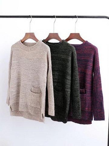 Side Split Long Sleeve Casual Sweaters-Newchic-