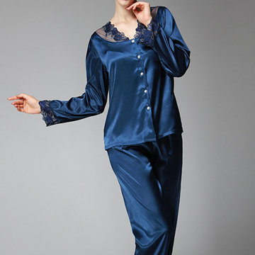 Silky Lace Embroidery Sleepwear Suit-Newchic-