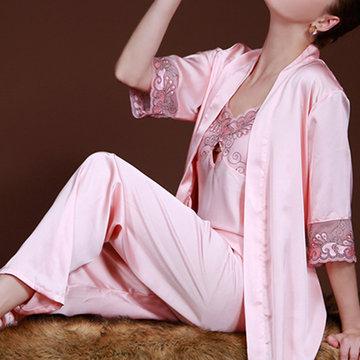 Silky Soft Embroider Sleepwear Suit-Newchic-