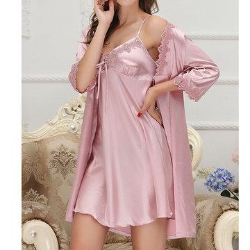 Silky Soft Two Piece Slip Dress Robes Sleepwear Suit-Newchic-